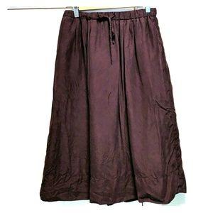Madewell pink silk midi skirt